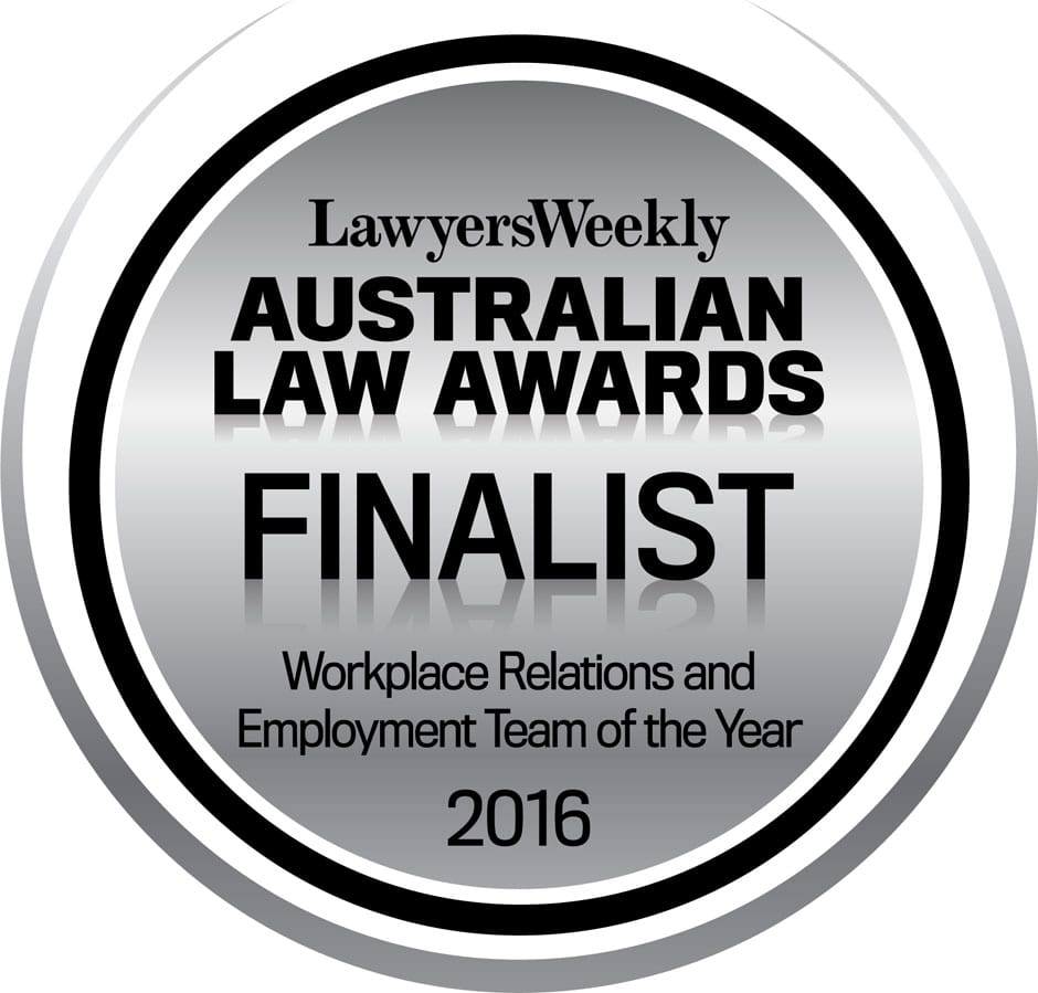 Australian Law Awards Finalist - Workplace Relations and EMployment Team of the Year 2016